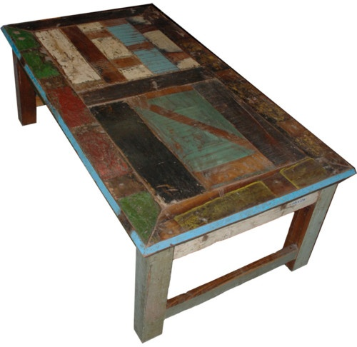 Lovely Vintage Distress Multi Color Coffee Table Reclaim Wood