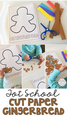 Practice scissor skills with this gingerbread cut and glue activity. Perfect for tot school, preschool, or kindergarten!