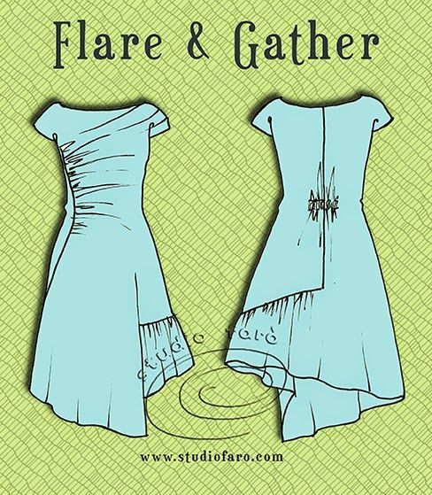 well-suited: Pattern Puzzle - Flare and Gather Dress from studio faro, shows how to change basic pattern into different dresses with complicated drapes, etc.