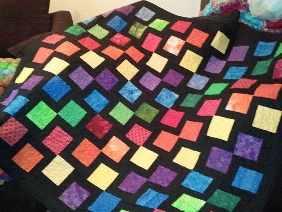 Rainbow and black modern quilt , made to order ://.etsy ... : rainbow quilt shop - Adamdwight.com