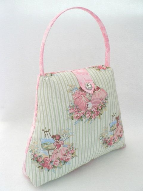 On offer from *My Shabby Cottage* is the gorgeous Handbag Doorstop. I have had sew much fun making these and they look great scattered around my home... I have made them look like a real handbag complete with rigilene covered handle and a beautiful rhinestone button closure to finish off. For this doorstop I have used Victorian Ladies fabric. The door stop has a zipper on the bottom so that you can fill it with what ever you prefer. (I use hobbyfill for the top part of the bag then weig...