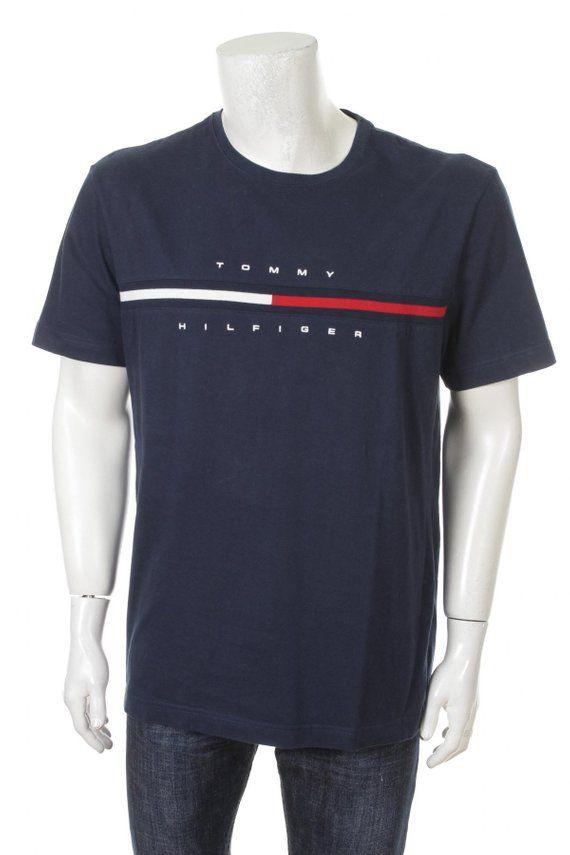 b4fc001628fdb Vintage Tommy Hilfiger T-shirt Flag Logo Spell Out Navy Blue Size XL ...