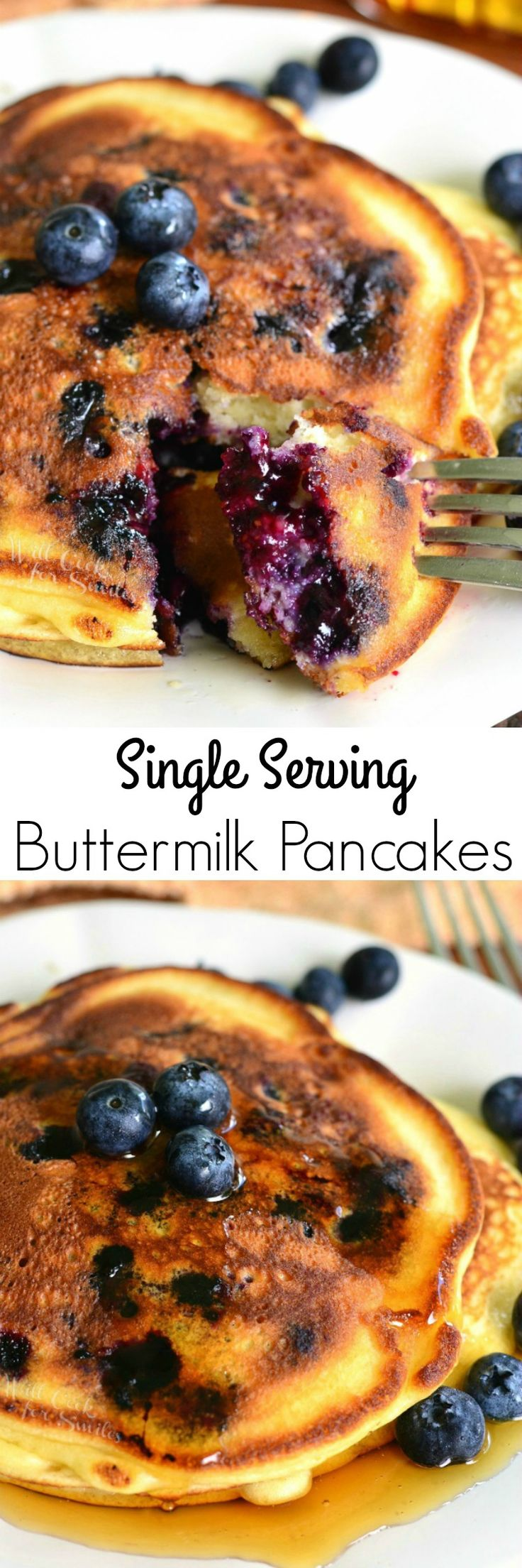 Single Serving Buttermilk Pancakes. Soft and fluffy buttermilk pancakes made just for you and you alone! Perfect quick and comforting breakfast for yourself or the kids.