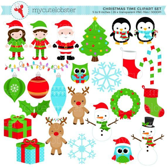 Christmas Holiday Clipart Set Clip Art Set Of Christmas Etsy Holiday Clipart Clip Art Christmas Clipart
