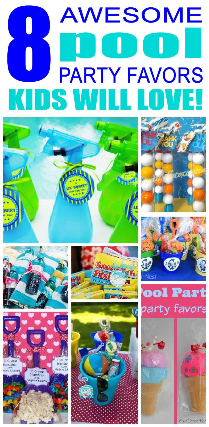 8 pool party favors kids will love. Fun pool birthday party favor ideas for children.