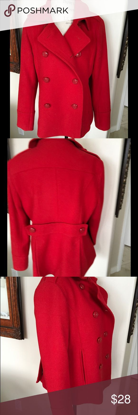 RED PEA COAT Like new JCP pea coat.True to size. Fits 10/12 jcpenney Jackets & Coats Pea Coats
