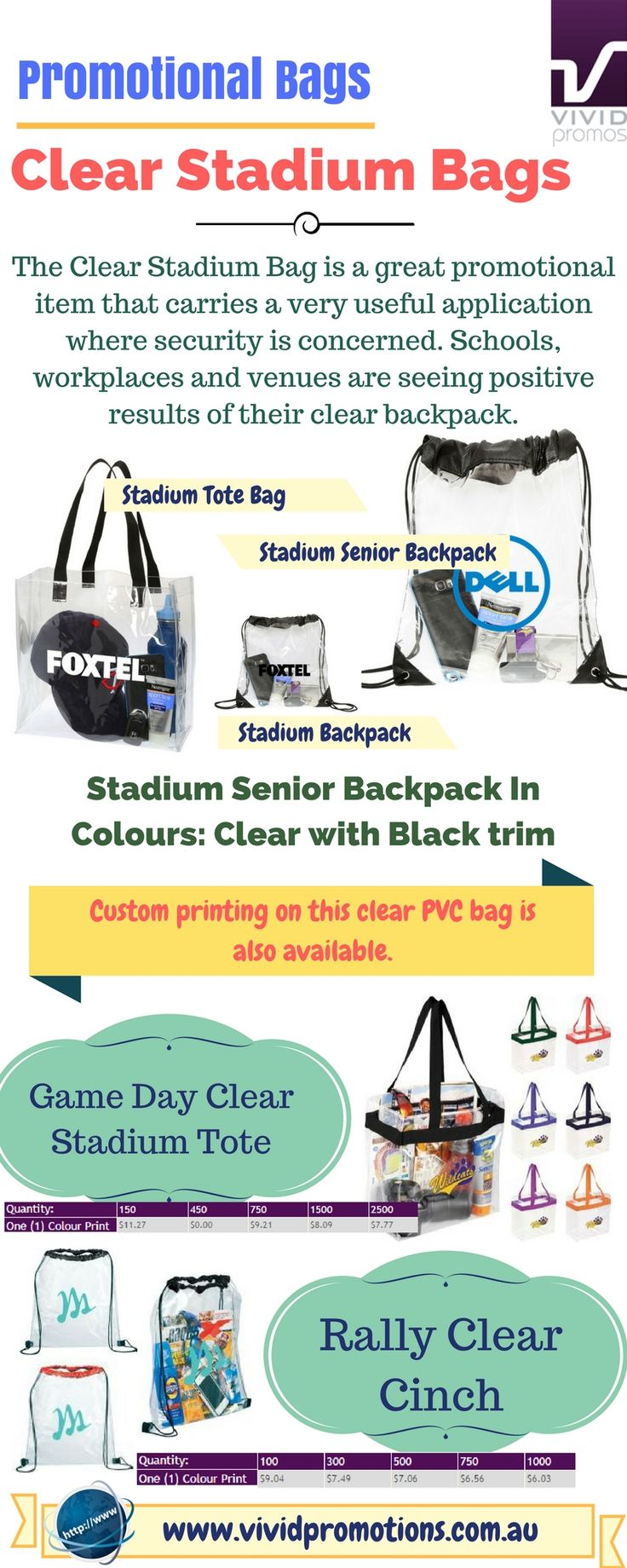 Customise your brand logo or message with clear stadium bags which is great promotional item that carries a very useful application where security is concerned. To know more, view this full infographic.