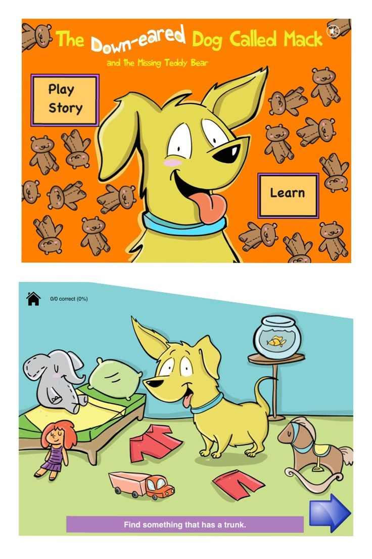 -Mack the Dog Early Language Development 2- includes an animated story about a loveable dog who gets into all sorts of mischief, while hunting for his bone! Hidden within the story, are the next 65+ first developing nouns. This application supports vocabulary building and comprehension, using the principle of semantic organisation, in 7 interactive levels: 1. Matching 65+ nouns 2. Identifying 65+ nouns 3. Labelling 65+ nouns  4. Functions  5. Categories  6. Parts  7. Two-step instructions