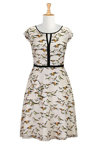 Contrast trim bird print dress