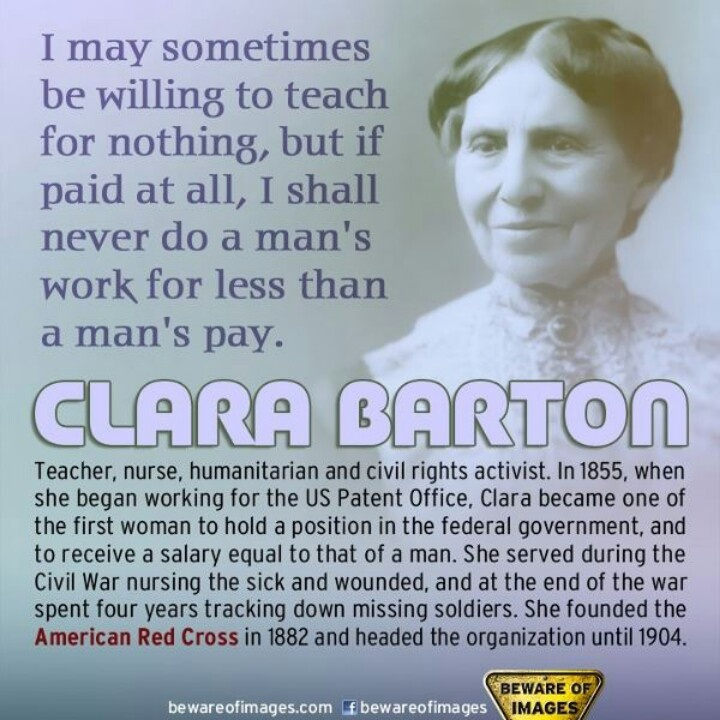 Clara Barton-founder of the American Red Cross, civil rights activist, had a long association with the women's suffrage movement
