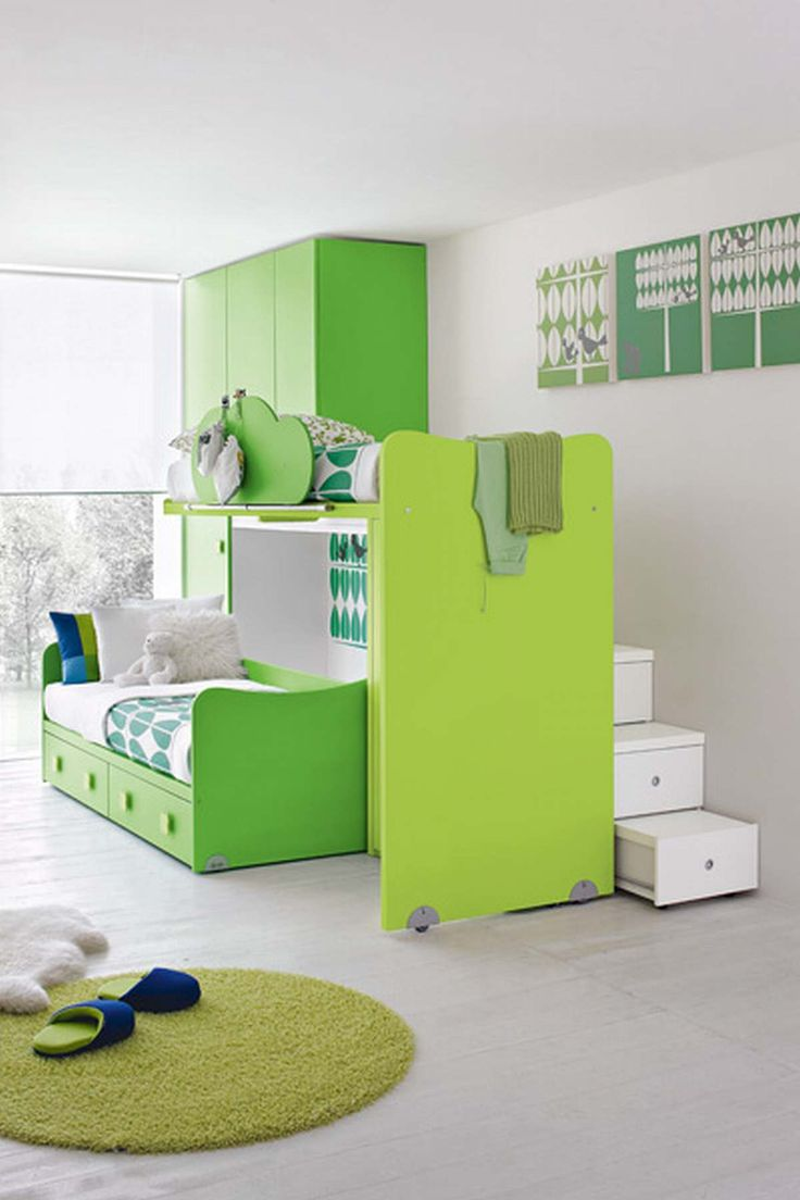 Cute Multi Green Kids Bedroom