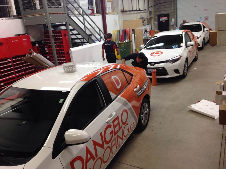 3 of 7 Toyota Corollas being wrapped for D'Angelo & Sons. Design, Print & Install by Side Effects Graphics.