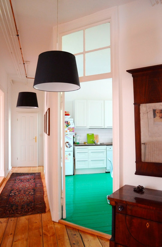 A Berlin Kitchen With a Glossy Green Floor Kitchen Spotlight | The Kitchn