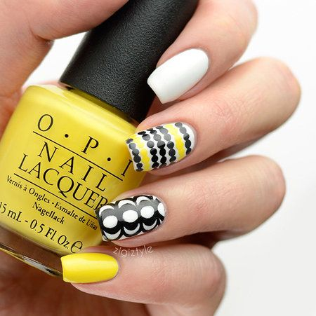 Inspired by Marimekko's wonderful furnishings print pattern. Black & yellow nails
