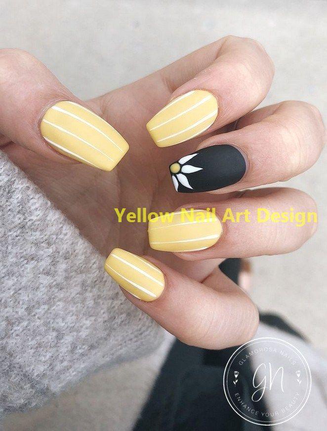 23 Great Yellow Nail Art Designs 2019 1 #nailarts