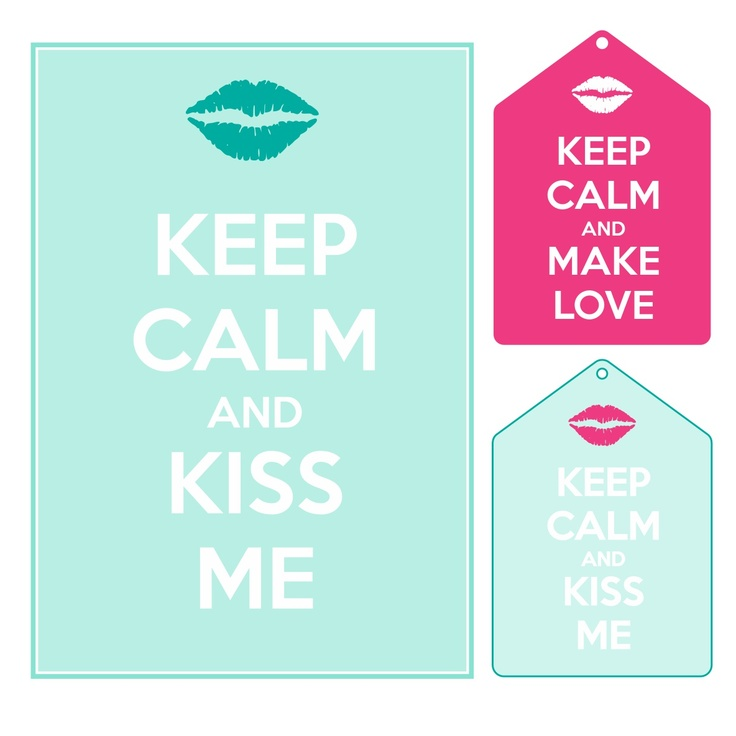 Freebies keep calm and kiss me love pink, tourquise - Magiczna Kartka