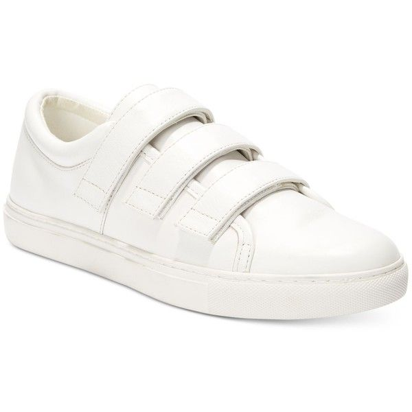Kenneth Cole New York Women's Kingvel Velcro-Strap Sneakers ($120) ❤ liked on Polyvore featuring shoes, sneakers, white, velcro strap sneakers, white sneakers, kenneth cole sneakers, retro shoes and velcro closure shoes