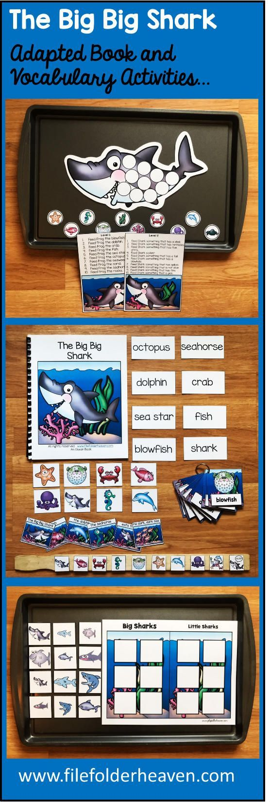 "This Ocean Adapted Book ""The Big Big Shark"" teaches ocean themed vocabulary words through simple rhyme and interactive matching pieces   This download includes 1 adapted (interactive) book, 1 sequencing stick activity, 1 sorting/classification activity, 1 making inferences activity, and 1 set of vocabulary labeling cards.  How to Use It:  In a small group, a teacher or therapist reads the story as students follow along and match a word and picture to each page. After the book is complete…"