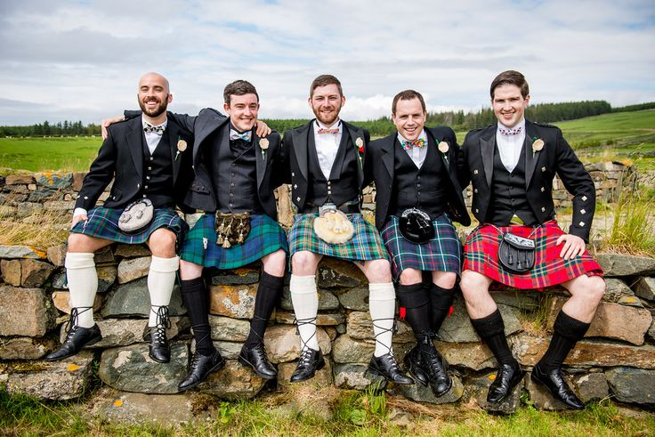 My handsome groom & his ushers in kilts