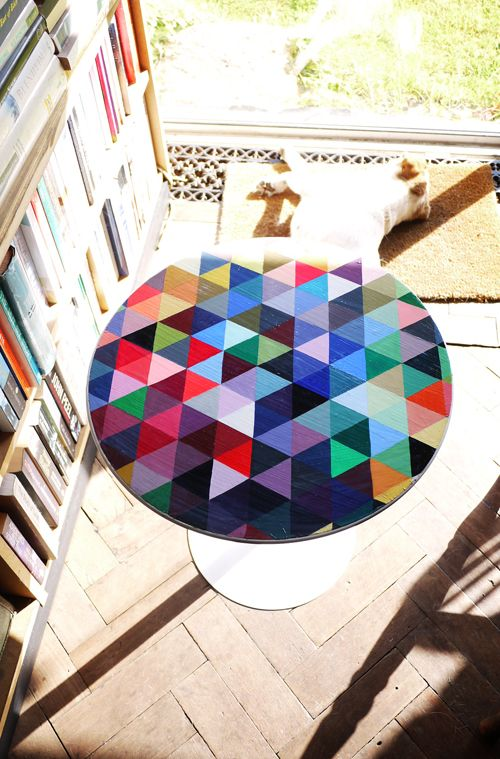 Hand Painted and varnished table by Lydia Kasumi Shirreff