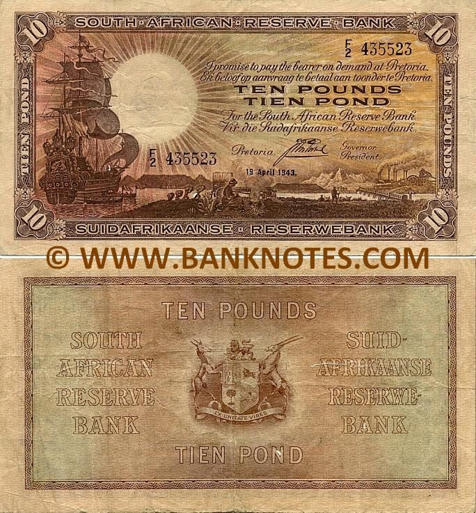 south africa currency | South Africa 10 Pounds 1943 - South African Currency Bank Notes, Paper ...