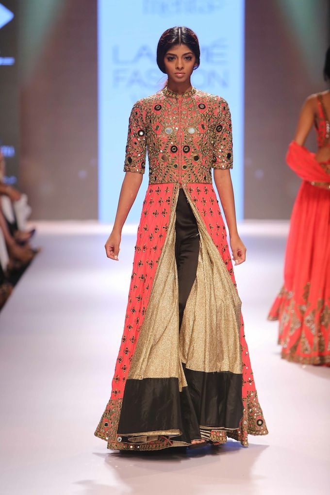 Arpita Mehta LFW AW15 Off The Runway on Exclusively.com (Gold, Peach and Black Anarkali Jacket, Kurta and Palazzon Pants With Sundhuri Mirror Work)