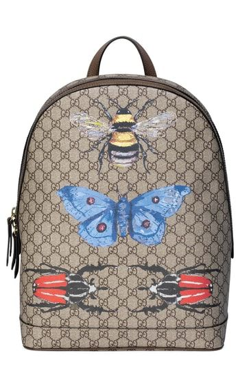 afa56656be2 Gucci Insect Print GG Supreme Canvas Backpack