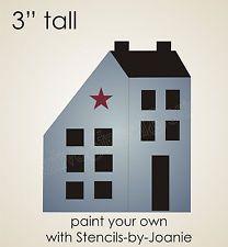 "free primitive stencils | Primitive STENCIL 3"" Saltbox House Country Colonial Folk Art Sign ..."