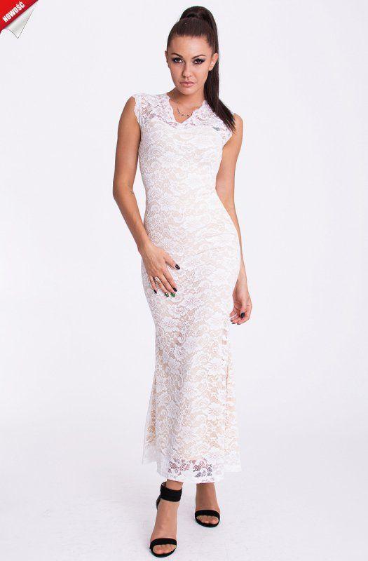 Kremowa, elegancka długa suknia pokryta haftem. #suknia #sukienka #długa #kremowa