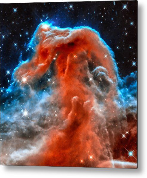 Horsehead Nebula Metal Print for sale. This Hubble Space image shows part of the sky in the constellation of Orion (The Hunter). Rising like a giant seahorse from turbulent waves of dust and gas is the Horsehead Nebula, otherwise known as Barnard 33. The image gets printed directly onto a sheet of aluminum. Metal prints are extremely durable and lightweight. The high gloss of the aluminum complements the rich colors of the image. Credit: NASA, ESA, and the Hubble Heritage Team. Edit M…