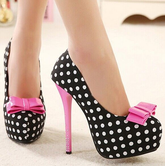 Bowtie ladies shoes platform, sexy rhinestone, high heels 2015
