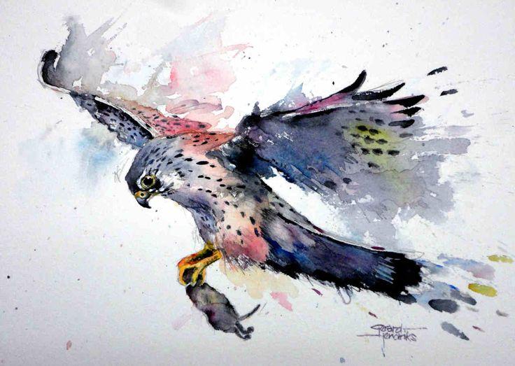 Hawk painting watercolor - photo#42