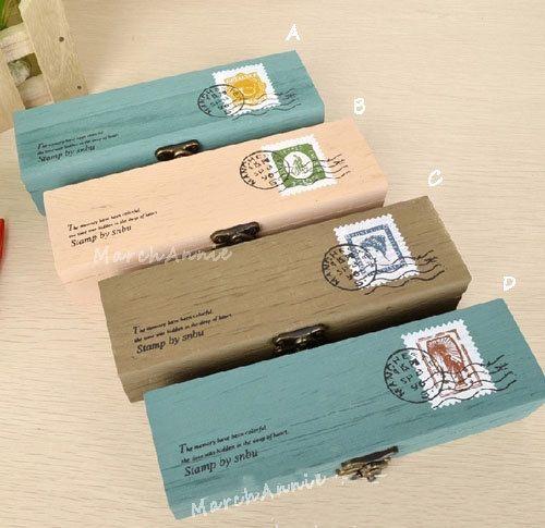 Handmade wood jewelry box  Vintage  Stamp & Postmark by MarchAnnie, $9.99