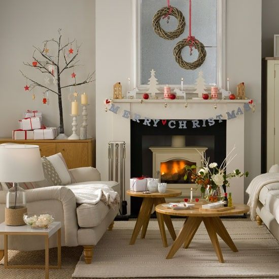 Woodland-inspired Christmas living room with twig wreaths | Budget christmas ideas | Ideal home | Photo gallery | housetohome.co.uk