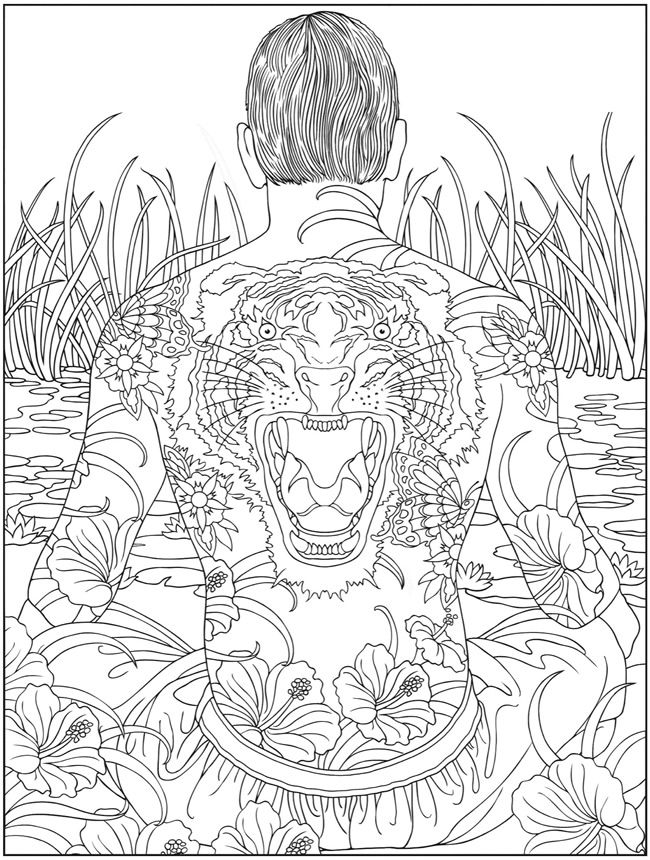 free printable coloring page tattoo body art - Free Printable Coloring Book Pages For Adults 2