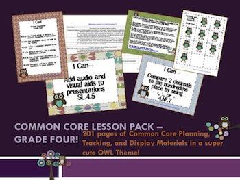Owl Theme Grade Four Common Core Lesson Planning Pack - Charity Preston - TeachersPayTeachers.com
