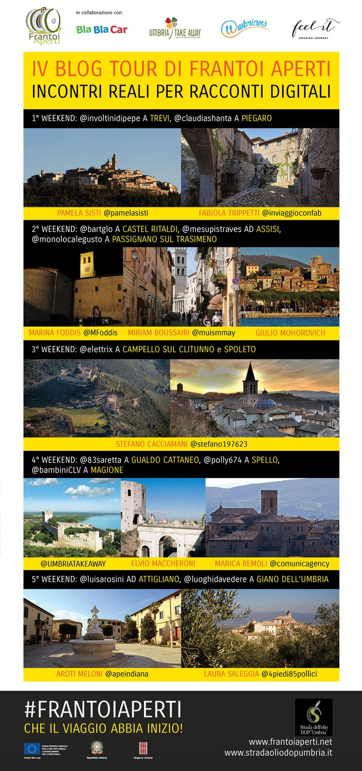 Mappa visuale del IV BLOG TOUR di FRANTOI APERTI (Infografica)