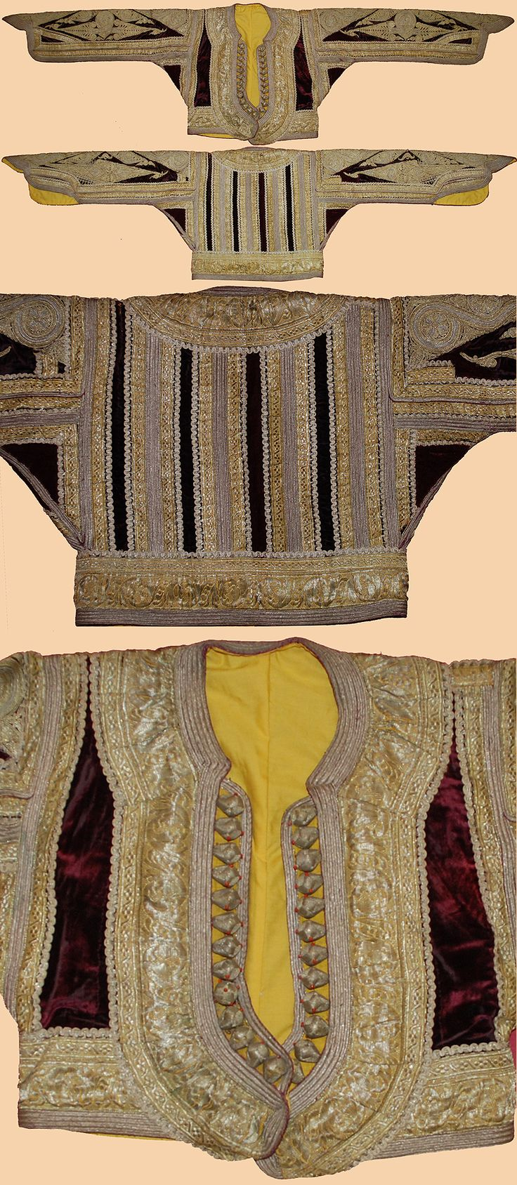 Antique Ottoman Jacket. Balkam Velvet  Jacket  Embroidered  with Gold and  Silver Thread  Ottoman Dynasty  1453-1922A.D