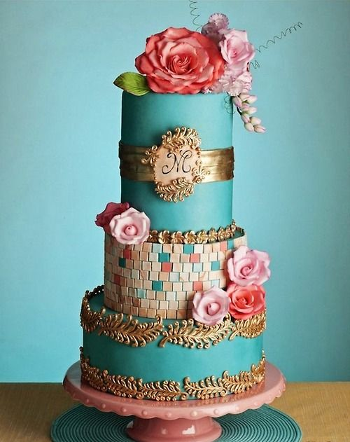 Beautiful colorful cake! Robins egg blue, pink, coral, and gold. Elegant and colorful