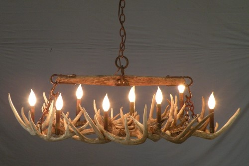 """#527 Singletree over whitetail antler chandelier 8 lights  45""""X 25""""X 20""""  The western look has an antique single tree at which the antler chandelier is hung from. www.peakantlers.com"""