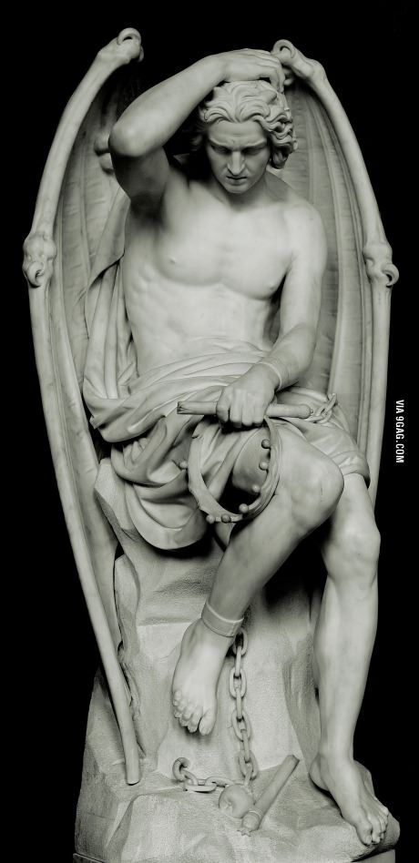 A beautiful Neoclassical religious sculpture of Lucifer, depicting deep psychological turmoil
