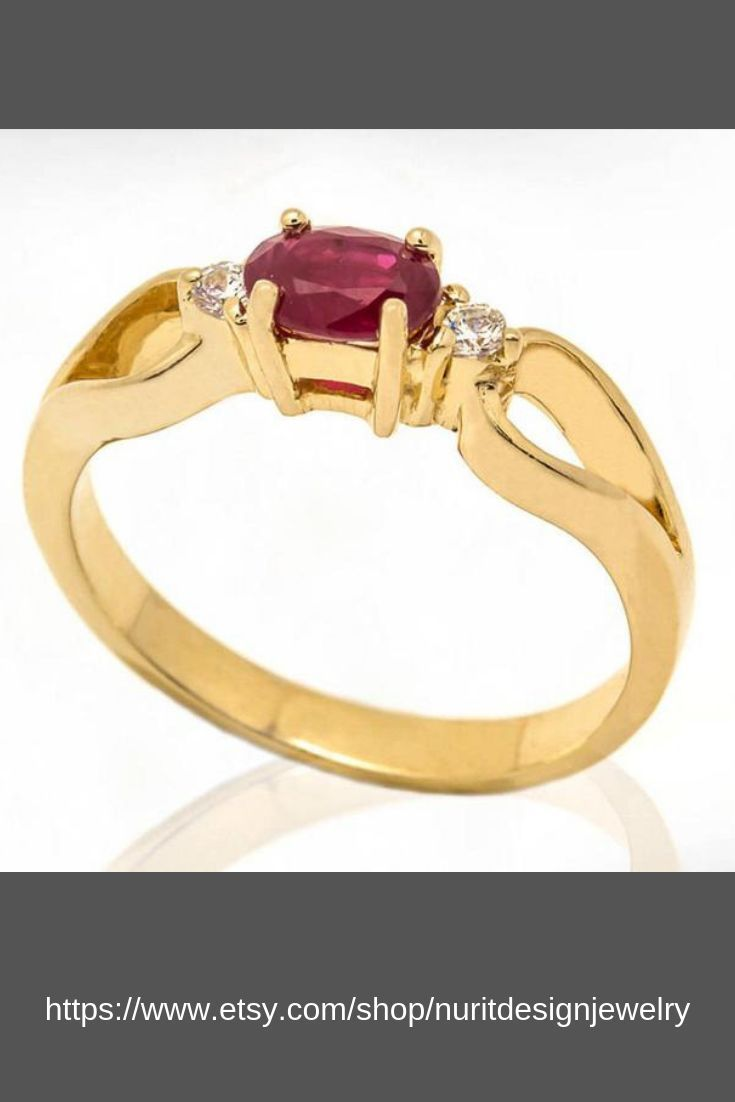 Ruby And Diamonds Women Engagement Ring Bridal Ring Wedding