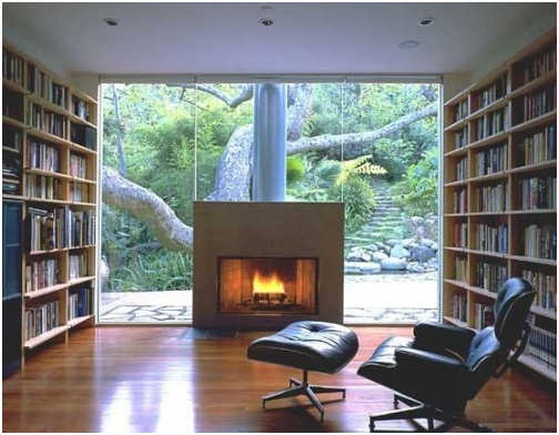 library, fireplace, outside view, eames lounge = perfect!
