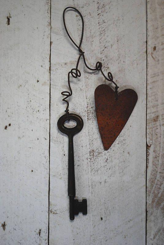 Rusty / Blackened Metal Key w/ Rusty Heart  - - Primitive Ornament