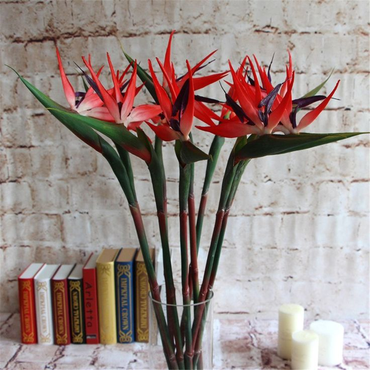 Lot of 6 pcs Large Bird Of Paradise Fake Artificial Flower Garden Home Office Decor (RD) * You can get more details by clicking on the image.