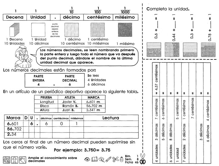 Reconocimiento sobre decimales: Los números decimales, se leen nombrando primero la parte entera y luego todo el número que va después del punto decimal.