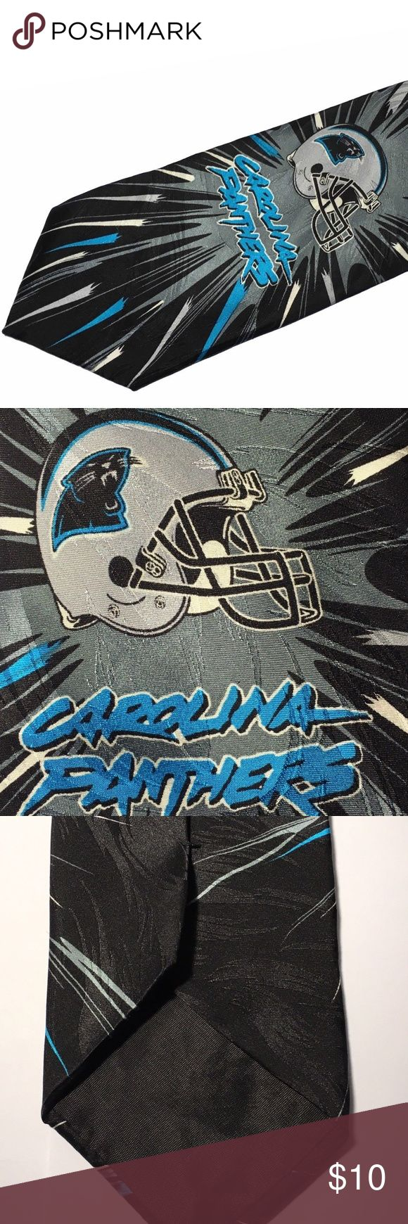 Ralph Marlin NFL Carolina Panthers Helmet Silk Tie Excellent condition USA made Team NFL Ralph Marlin 100% silk tie. Features the helmet of the football team Carolina Panthers. Tie was produced in 1998. Sure to be a wardrobe success on game weekend. Length is 56 inches Width at widest point is 3.75 inches NFL Accessories Ties