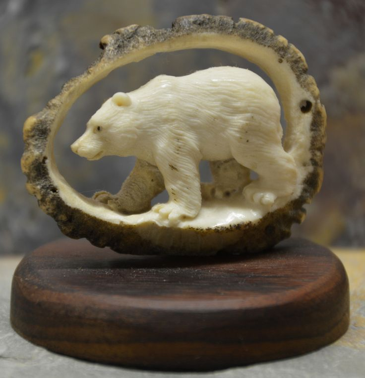 Bear Carving made from one piece of Antler. Wonderful small piece of art.