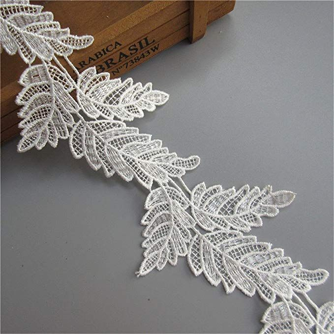 1-10 Meters Leaf Embroidered Lace Edge Trim Ribbon Wedding Applique Sewing Craft