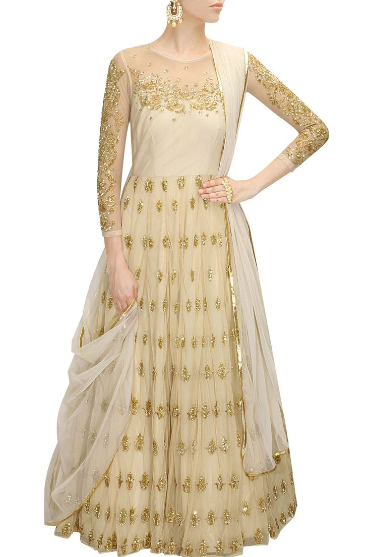 Off white sequins embroidered anarkali gown with white dupatta available only at Pernia's Pop-Up Shop.